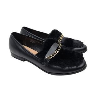 A New Day Sal Faux Leather Faux Fur Black Loafers